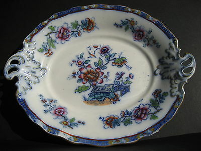 Antique English Chinoiserie Platter Thomas Sneyd Hanley Polychrome Plate Handles