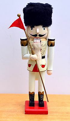 """15"""" Officer with pennant, wooden nutcracker, Christmas holiday decoration"""