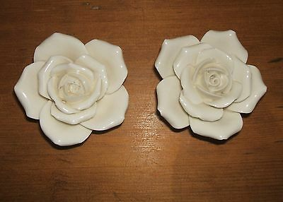 A Pair of Cream China Roses Ornaments