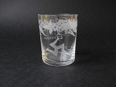 Vintage Wheel Engraved dram glass - Isle of Man - lovely