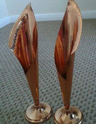 a pair of beautiful copper bud vases /hand made from pure copper