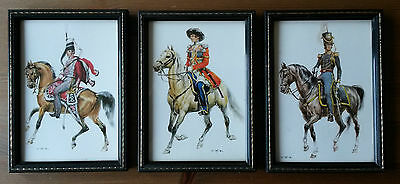 3 Framed Military Postcards Prussia 1845, Cossack 1825 and Dragons 1836 Officers