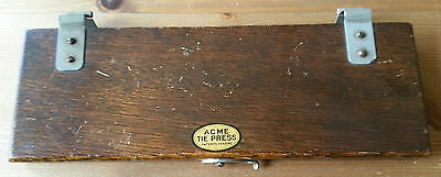 Antique ACME 1920's Oak Wood Tie Press with Adjustable Curved Fastening Clasp