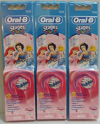 Oral-B Kids Princess Stages Power Electric ToothBrush Refills Heads x 6 AUS