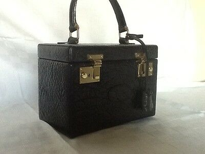 Rare Vintage Mulberry Vanity Make-up Case in Black Nile Leather