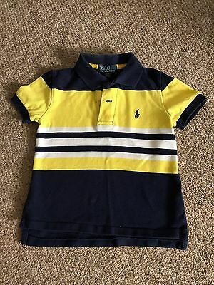 Boys Toddler Ralph Lauren Polo T-Shirt Childs Blue & Yellow Top Size 2 Years