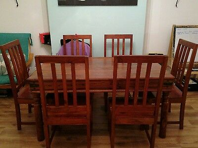Sheesham Indian Jali Table and Chairs x 6