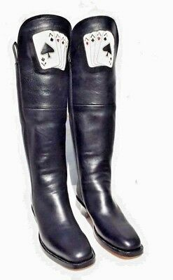 Ace Of Spades Curly Bill Cavalry Boots 100% Quality Leather Black Men's 12