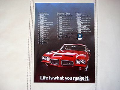 1972 PONTIAC GTO COUPE - Original Print Car Ad - Excellent Condition