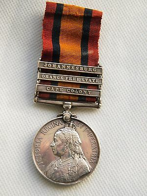 3 Clasp Boer War Queens South Africa Medal, Pt. AW Broomfield Lincolnshire Regt
