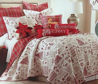 """NEW! """"MERRY"""" Christmas Toile Words Reversible Plaid Quilt + 2 Shams FULL/QUEEN"""