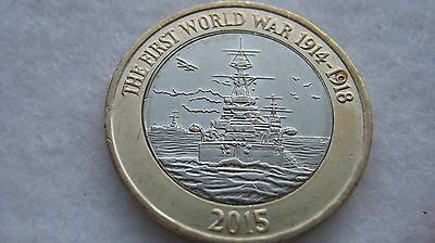 2015 Queen Elizabeth II two pounds. The Royal Navy WWI £2 coin.