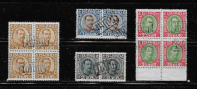 Iceland - Christian X pairs and blocks of 4 with Tollur revenue cancels