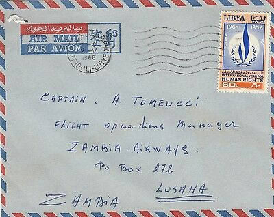 K 1484 Libya 1968 cover airmail to Zambia; Human Rights stamp solo usage