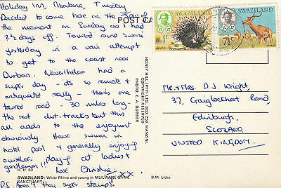 K 683 Swaziland 1971 postcard to UK; 8 1/2c rate; animal stamps used