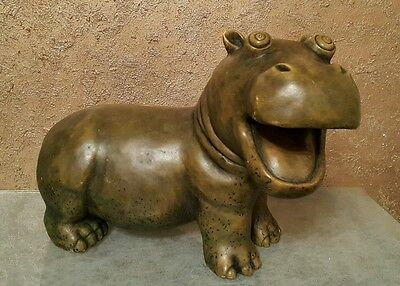 Large Hippopotamus - PAST TIMES - Green Resin Figurine Ornament-Length: 30 cm