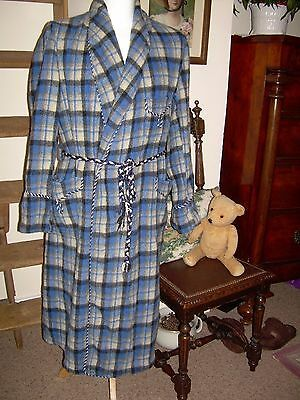 Man's vintage wool dressing gown+fancy cord detail, blue/cream check+Medium size