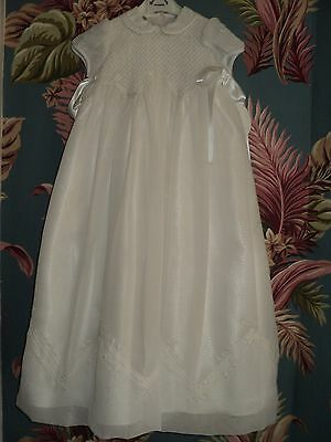 SARAH LOUISE Christening Gown w Bonnet white georgette with smocking size 6M NOS