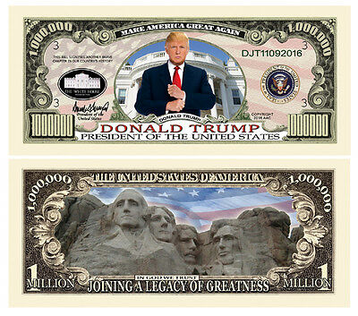5 Donald Trump President Money Fake Dollar Bills Legacy Note Million Lot