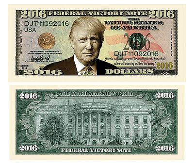 25 Donald Trump President Money Fake Dollar Bills 2016 Federal Victory Note Lot