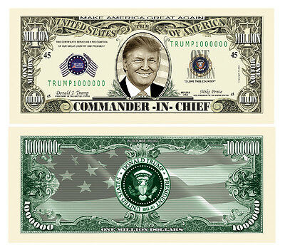 50 Donald Trump President Money Fake Dollar Bills Commander In Chief Million Lot