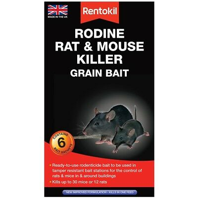 Rentokil Rodine Mouse & Rat Killer Poison Grain Bait 6 Bait Sachet Packs
