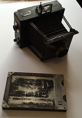 Vintage Rare Box Camera With Case & Unopened Plates - Large Format