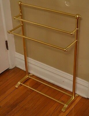 Hollywood Regency Brass Gold Tone Blanket Quilt Towel Rack Valet Made in ENGLAND