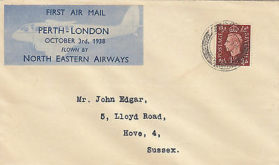 M 1789 First Flight Cover Perth London North eastern Airways October 1938