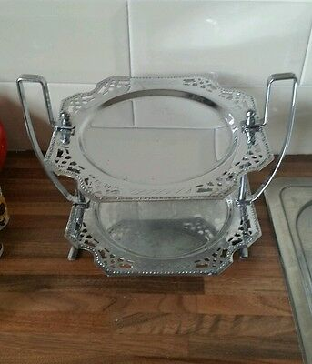 Vintage Art Deco Chrome 2 tier Cake Stand 1940s Serving Wedding Party Bake