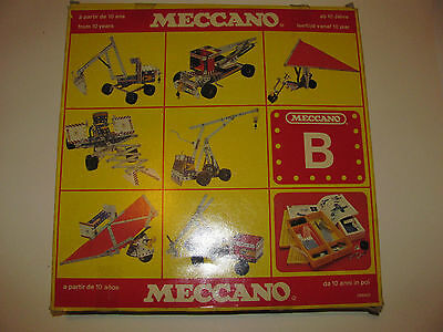 boxed vintage Meccano set B complete & instructions & stickers Mechano 1982 80s