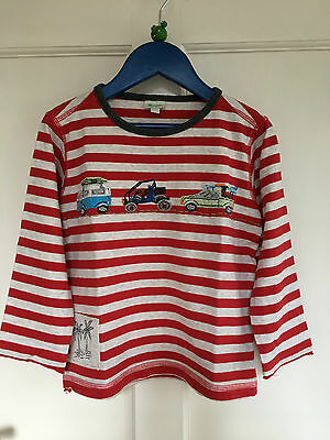 Boys Monsoon Striped with Vehicle Applique Long Sleeved T shirt Age 4-6 Years