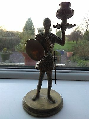 Very Unusual Knight In Armour Single Brass Candlestick Candle Holder Stick