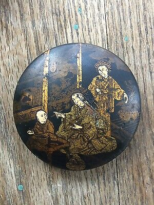 Antique Japanese Late Edo Early  Meiji Period Paper Mache Lacquered Box