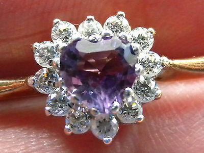 Beautiful Solid 9Ct Gold Amethyst & Cz Brooch