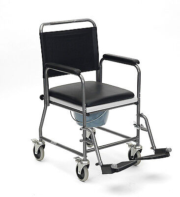 Mobile Wheeled Glideabout Commode Chair Wheelchair Padded Seat Brakes Millercare