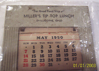1950 Calendar Miller's Tip Top Lunch Chillicothe ,ohio