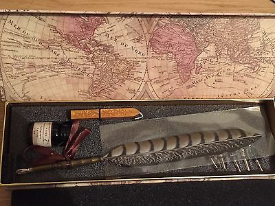 Monz Writing Quill Calligraphy Pen Copper Stem & 6 Metal Nibs! New! Gift! *l@@k!