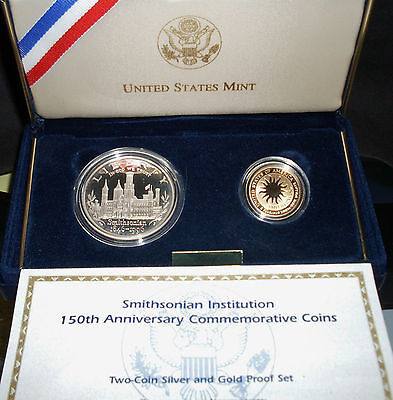1996 Smithsonian 2 Coin Proof Set / $5 Gold / $1 Silver w/ Box & COA (Best Price