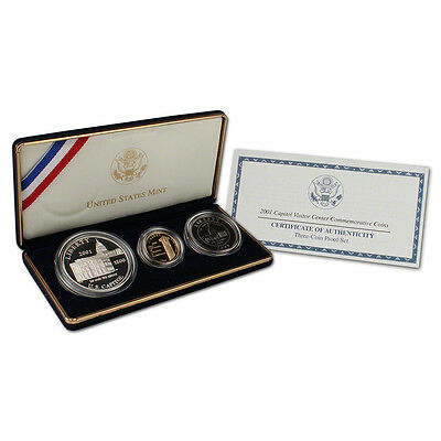 2001 US Capitol Visitor Center 3 Coin Proof Set Gold/Silver/Clad w/ Box & COA