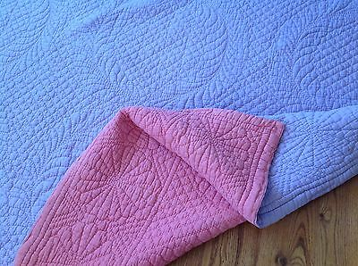 "Hand stitched Durham/Welsh quilt,lilac,pink reversible.Art deco.6'11"".Sofa throw"