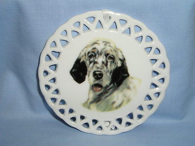 English Setter Dog Porcelain Round Lattice Christmas Tree Ornament Decal-H4