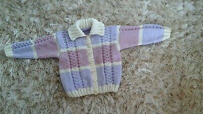 Hand Knitted Girls Cardi Size 6-12 Months