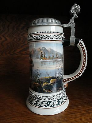 Domex Lidded Stein with Fishing Scene