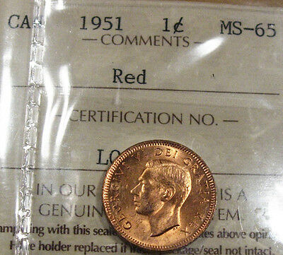 1951 ICCS MS65 Red 1 Cent