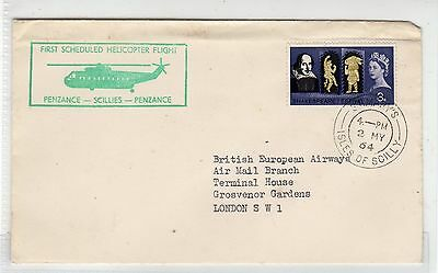 Gb - St. Mary's Scillies: 1964 First Helicopter Flight Cover (C23382)
