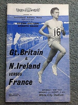 vintage 1960s Gt. Britain Versus France whites city stadium programme
