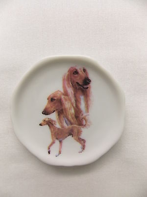 Saluki  Dog 3 View Porcelain Plate Magnet Fired Decal- 73