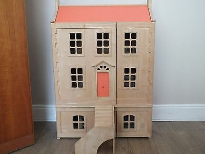Large Wooden Dolls House, Furnished and with Characters