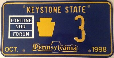 Pennsylvania 1998 Fortune 500 Special Event license plate low number 3 one digit
